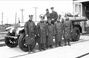 1928 Fire Department Stand in Front of Fire Engine