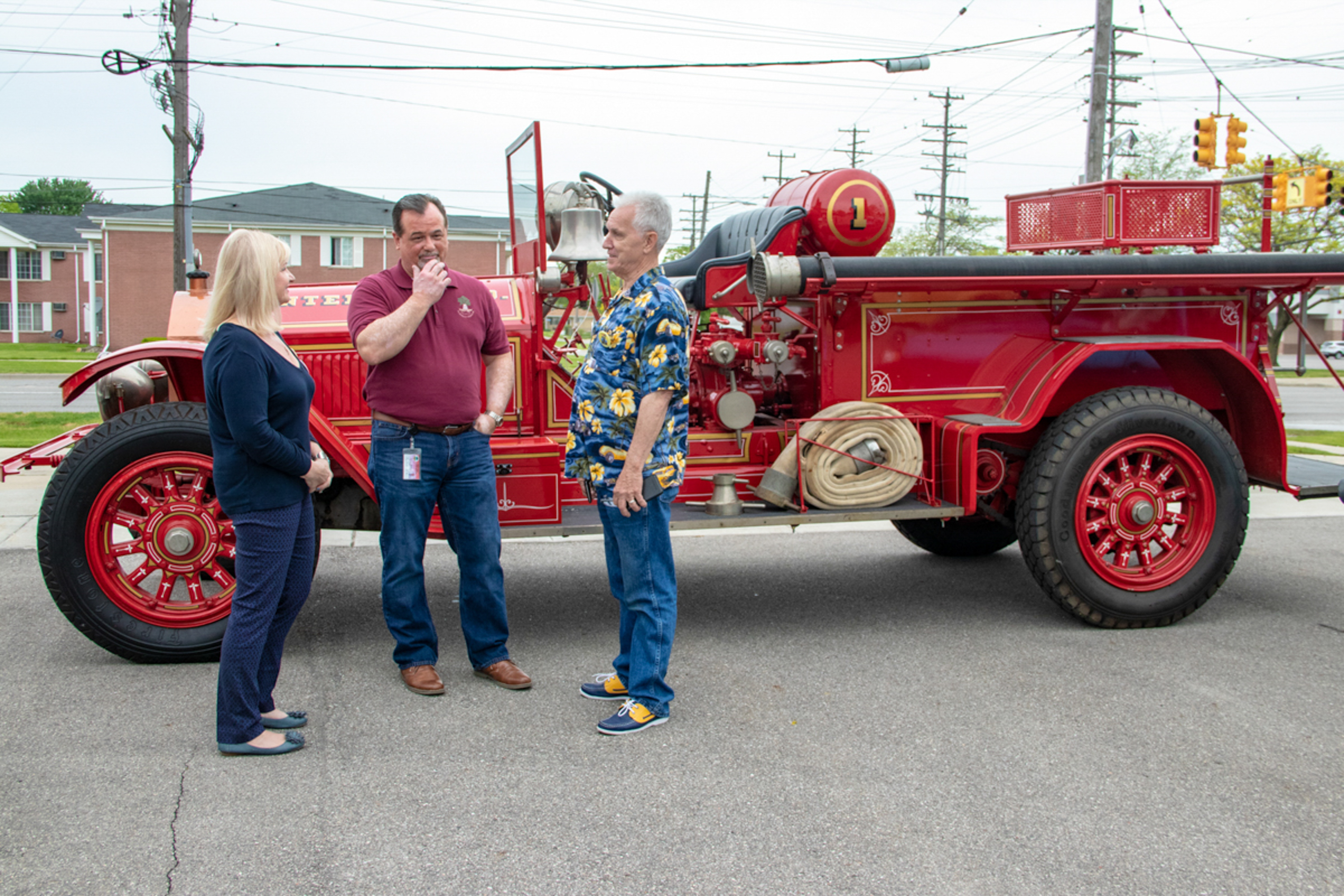 Center Line LaFrance fire truck with Dennis Champine, Jim Reid and Donna Weatherby